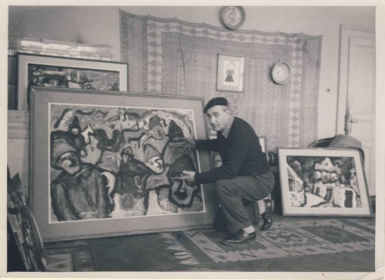 Милан Коњовић у атељеу 1956.г.
