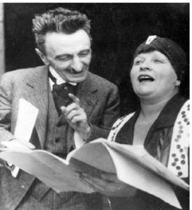 Branislav Nušić i Žanka Stokić na probi Gospođe ministarke 1929. godine