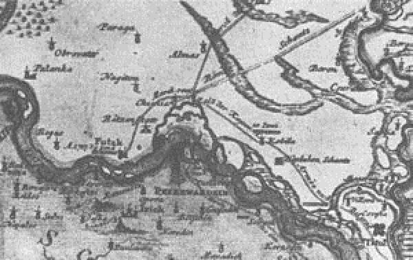 Алмаш, некадашње српско село у Бачкој, на мапи 1716–1717. године (Фото извор: Википедија)
