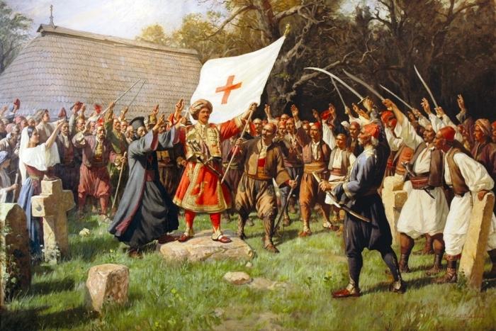 Слика Таковски устанак (уље на платну; 160х256) рад  је Паје Јовановића
