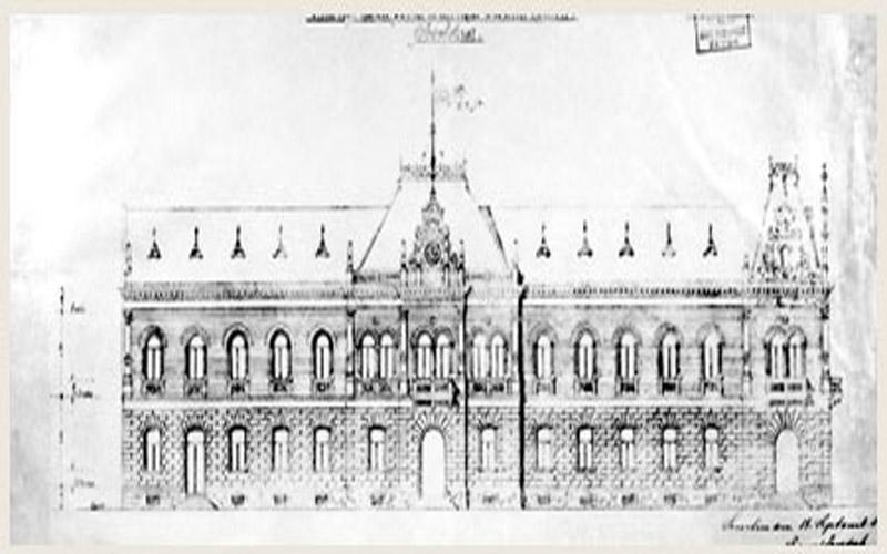 Glavna fasada, arhivski plan, 1895.