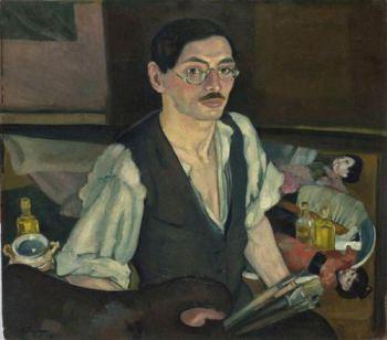 Moša_Pijade,_Autoportret_sa_japanskim_lutkama,_1916