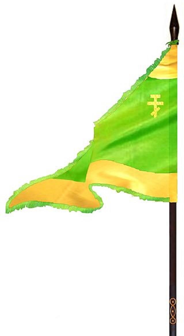 Ratna zastava cara Dušana, koja se čuva u srpskom manastiru Hilandar na Svetoj gori. Autor slike rekonstruisane zastave: Petar B. Bogunović