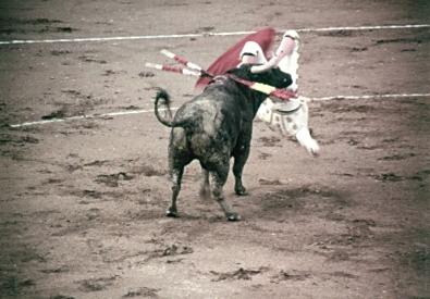 U jednom trenutku Domingin se okliznuo i potom našao na rogovima bika