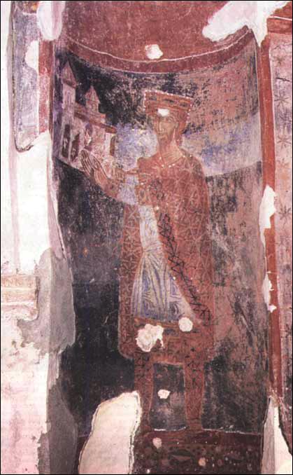 Prvi srpski kralj Mihajlo Vojislavljević, ktitorski portret iz Crkve svetog Mihajla u Stonu