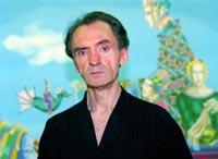 """Kosta Bunussevac slikar i pesnik na svojoj izlozzbi u paviljonu """"Cvijeta Zuzoricc"""" na Kalemegdanu 04.08.1999. godine Foto: Marko Metlass"""